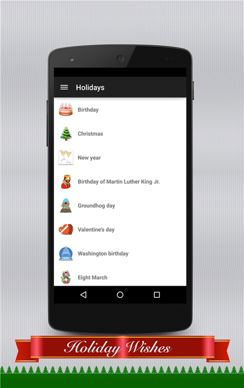 Message Categories of Holiday Wishes app