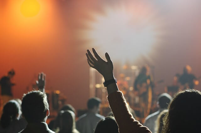 a girl at a concert with her left arm up in the air